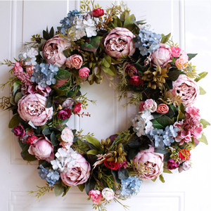 Wholesale 53cm Door Wreath Large Garland Artificial Flower Wreath Wall Hanging Door Decoration Home Decoration Farmhouse Deocr Hawaiian
