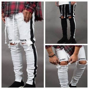 Wholesale Mens Designer Ripped Jeans Hole Distressed striped Zipper Jeans Trousers Slim Hip Hop Biker Denim Pants Skinny LJJA2543