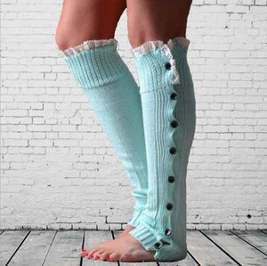 Wholesale Fashion New Buttons Down Fastening Keep Warm Knitted Gaiters Loose Wool Leg Guard Boot Cuffs Socks Knit Leg Warmer