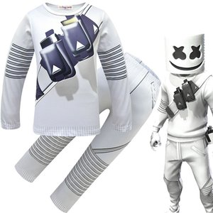 Wholesale DJ marshmello baby boys outfits 2019 Spring Autumn Print pullover +pants with mask sets fashion children suits Kids Clothing sets