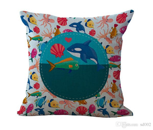 Wholesale decorate pillow covers for sale - Group buy Small Fish Pillowcase Printing Cushion Cover Square Cotton And Linen Pillow Case Sofa Home Decorate Mermaid Pattern my C1