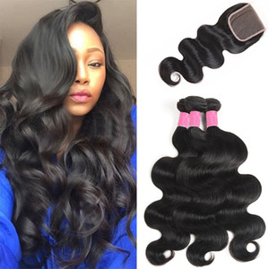 8A Peruvian Body wave With 4X4 Lace Closure Wet & wavy Pervian Virgin Hair Bodywave With Closure Extensions Puruvian Human Hair Weaves SEXY