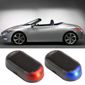 Wholesale Solar Car Alarm LED Flash Light Car Security System Warning Flash Light Anti Theft Alarm Lamp Red Blue interior accessories