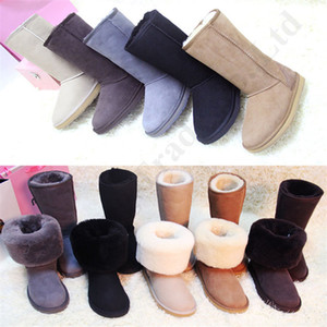 Wholesale Brand Australia U G Women Boots Real Cowskin Plus Size Flat Boots Trendy Suede Fur Lined Warm Winter Knee High Tall Snow Boots C112209