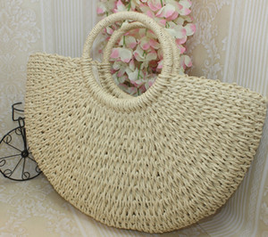 Wholesale 2019 Totes Women Straw Handmade Beach Weaving Ladies Moon shaped Large Capacity shoulder Bag Khaki Beige Size CM CM CM