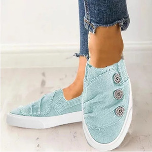 Wholesale Drop Shipping Button Flat Shoes Hot sale New Arrival Womens Button Slip on shoes Denim Flat for Ladies Large Size34 colors