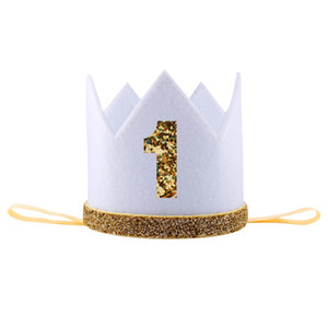 Wholesale Birthday Headband Gift Boy Blue Silver First Birthday Hat Girl Gold Pink Priness Crown Number st Year Old Party Hat Glitter