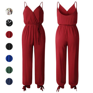 Wholesale Tie Waist Jumpsuit V Neck Backless Camis Siamese Trouses Bow Split Pants Summer Women Clothes Floral Black Red