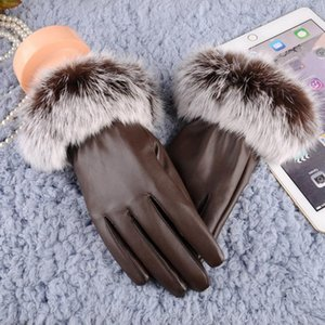 Fashion- Women leather Gloves Autumn Winter Warm Rabbit Fur gloves Mittens gloves heated