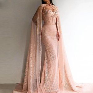Gorgeous Mermaid Prom Dresses With Wrap Sweetheart Appliques Lace Exposed Boning Evening Dress Sexy Dubai African robe de soiree on Sale