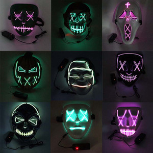 Wholesale holloween masks for sale - Group buy Holloween Mask El Wire LED Light Horror Ghost Pumpkin Dance Glowing Mask Fashion Cosplay Costume Party Supplies Creative Decor DHL FREE