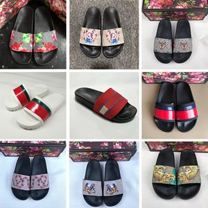 Wholesale Top Fashion Womens Designer Slides Slippers Luxury Tiger Bee Snake Flowers Desi Men peep toe Sandals Floral brocade Beach Loafers Shoes