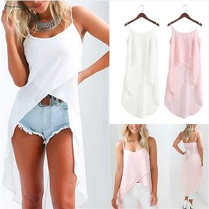 White Pink Summer Autumn Camis Dress Women Solid Fashion O-Neck Polyester Casual Vestidos 2019 Irregular Sexy Sleeveless Chiffon Dress