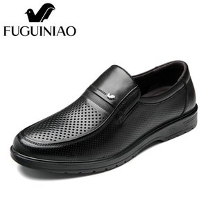 Wholesale Summer men s Breathable dress shoes FUGUINIAO Genuine Leather perforated Men s black Business Shoes size SH190926