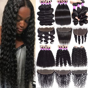 Wholesale Mongolian Virgin Hair Lace Frontal Closure With Bundles Deep Wave Curly A Cheap Human Hair Bundles With x4 Lace Frontal Hair Extensions