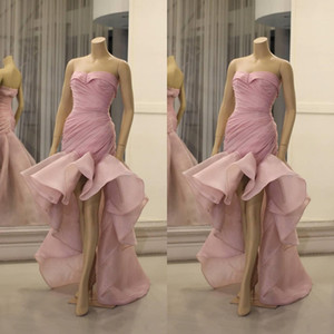 Wholesale sexy champagne cocktail organza dresses resale online - Aso Ebi Arabic Stylish Pink Cocktail Dresses Sweetheart Mermaid Organza Prom Dresses Cheap Formal Party Bridesmaid Pageant Gowns