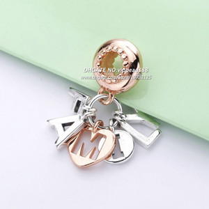 2019 Spring NEWE S925 Silver Rose gold letter Pendant charms beads Fits Pandora Jewelry DIY Bracelets Necklaces
