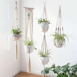 beschichtete kleiderbügel großhandel-4 teile los Makramee Pflanze Aufhänger Kreative Designs Handgemachte Indoor Wandbehang Pflanzer Pflanze Halter Moderne Boho Home Decoration