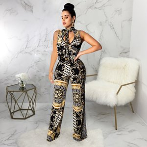Wholesale Digital Printed Jumpsuits For Women Summer Clothing Sexy Black Nightclub Wearing Full Length Apparel