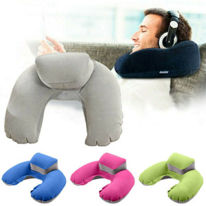 Wholesale Portable Travel Inflatable U Shape Pillow Neck Head Rest Air Soft Cushion for Travel Plane Pillow Blue Green Rose Gray