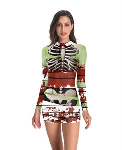 Wholesale Autumn D Digital Printed Dress Funny Designer Halloween Party Dress Fashion Crew Neck A Line Dresses