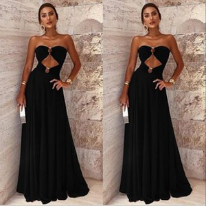 Cheap 2019 Black Sleeveless Evening Party Dresses Sweetheart Backless Sexy Celebrity Gowns Pageant Prom Gowns on Sale