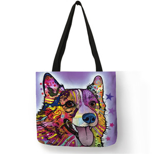 Wholesale Personalized Oil Paint Bull Dog Terrier Print Tote Bag Linen Reusable Shopping Bags Women Fabric Handbags Customized Pattern