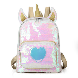Wholesale Kids Unicorn Sequins Backpacks Cartoon laser Heart Pattern Bling Bags Travel baby girls boys School Bags children Shoulders bags C5594
