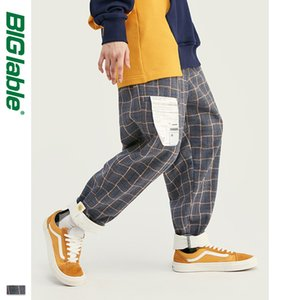 BIG LABLE Retro Plaid Wool Men Pants Harajuku Loose Straight Casual Men Pants 2019 AW Street Style Male Trousers 93362W
