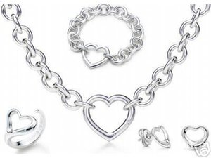 Wholesale Designer Jewelry Heart lock New Jewelry Sets 925 Sterling Silver Bracelet and Necklace Sets Fashion womens Jewelry Sets with box glitter2009