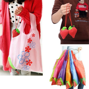 Wholesale Large Strawberry Shopping Bags Eco Travel Tote Bag Folding Reusable Grocery Nylon Bag Black Red Blue Orange Yellow Pink Green