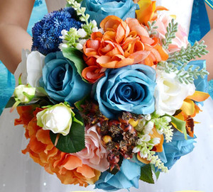 Wholesale blue orange wedding bouquets for sale - Group buy YFMY High quality blue and orange fabric silk Camellia wedding bouquet rose hydrangea bride holding flowers Berries Straw rope foreast style