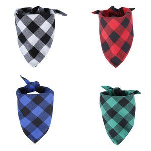 Wholesale Pet Dog Cat Bandanas Washable Triangle Plaid Printed Dog Bibs Scarf Handkerchief Set Accessories for Kitten Cat Puppy Small Dogs RRA2392