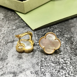 Wholesale gold plated copper black white red green clover flower shell agate natural stone earrings for women hot selling luxury fashion jewelry