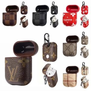 Wholesale For Airpods Case Luxury PU Leather Protective Cover Hook Clasp Keychain Anti Lost Fashion Brand Earphone Cases Protector