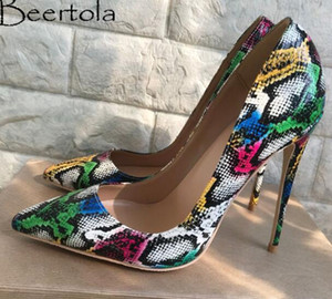 super cool tacones altos al por mayor-Nuevo Stiletto Pumps Mujeres Mixta Color Snakeskin Patrón Super High Heels Party Wedding Shoes Cool Colorful Ladies Shoes