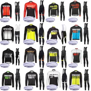 Wholesale SCOTT team custom made Cycling Winter Thermal Fleece jersey bib pants sets Men s Comfortable Wearable Outdoor Sports Jersey Set S648