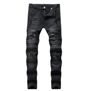 2019 New Fashion Jeans Hip Hop Mens Designer Clothes New Fashion Distressed Ripped Skinny Denim Biker Jeans Men Pants
