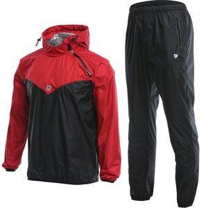 Wholesale Men Workout Sauna Suit Set Sport Jackets And Pants Suit Quick Dry Hooded Gym Clothing Running Training Jogging Enfant Garcon SH190717
