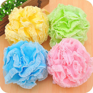 SH Lace Mesh Pouf Sponge Bathing Spa Handle Body Shower Scrubber Ball Colorful Bath Brushes Sponges K5478