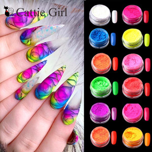 Wholesale neon nail for sale - Group buy 12colors set Neon Pigment Nail Powder Dust Ombre Nail Glitter Gradient Glitter Iridescent Acrylic Powder Nail Art Decoration