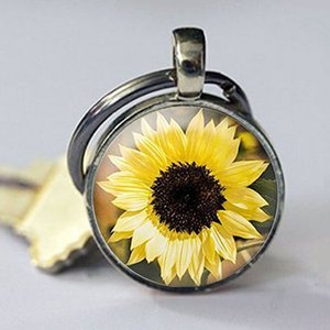 Wholesale bronze Sunflower keychain Silver Flower keychain Real copper Floral Jewelry Sterling copper Sunflower Jewelry Garden Gift