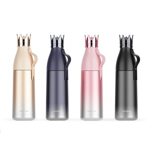 Wholesale Crown Stainless Steel Water Bottle Honorable Thermal Insulation Kettle Gradation Personality Cup Rope Lift Silicone Bottle Cap New yqb1