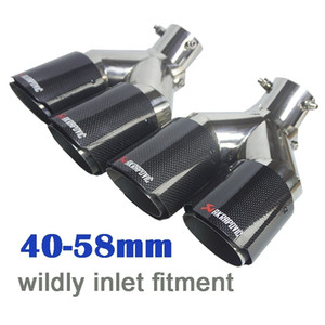 Bolt-on Adjustable Dual End Exhaust Pipes High Gloss Carbon Fiber Muffler Tips Stainless Steel Tailpipes