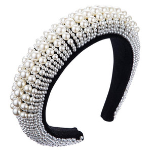 Wholesale party pad resale online - Luxury Design Hairband Fashion Pearl Cover Padded Headband For Women Dance Party Women Hair Accessories Velvet Bezel Sponge Hair Band
