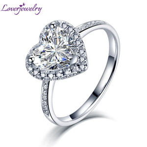 Wholesale 14k Transgems Moissanite Rings White Gold Heart Cut ct Moissanite Ring For Women Engagement Anniversary Wedding Fine Jewelry