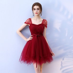 Wholesale 2019 Tulle Wine Red Short Bridesmaid dresses bride sister guests performance stage Pink Bridesmaid dres SW0035