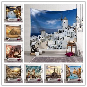 Wholesale 150 CM World Architecture Tapestry Wall Hanging Mural Designs Beach Towel Shawl Yoga Mat Printed Tablecloth Party Wedding Decoration