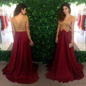 Wholesale 2019 Gold Lace Burgundy Long Sleeve Prom Dresses Modest V neck Plus Size Chiffon Full length Women Evening Formal Dress Wear
