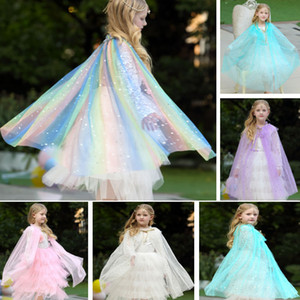 Wholesale Kids Girls Cosplay Lace Cloak Cape Cartoon Costume Children Adult Princess Shawl Party Halloween Christmas Clothing HH9